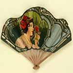 Advertising fan for kitchen appliances, 'Hachoir Universal', 'Sorbetière Américaine Gem' and 'Patissière Universal'; c. 1905; From The Fan Museum